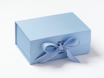 Pale Blue A5 Deep samp;e Gift Box with Changeable Ribbon