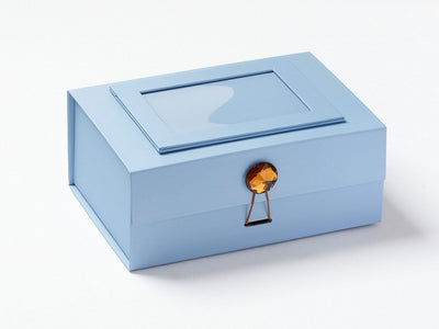 Pale Blue Photo Frame on Lid of Pale Blue A5 Deep Gift Box with Brown Tourmaline Closure