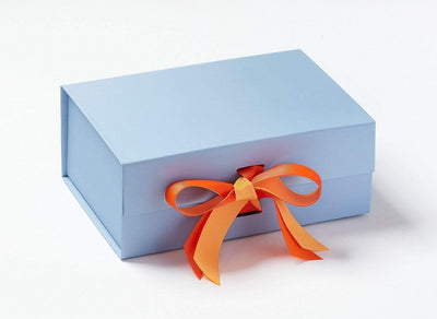 Pale Blue Gift Box Featuring Russet Orange and Mango Ribbon Double Bow