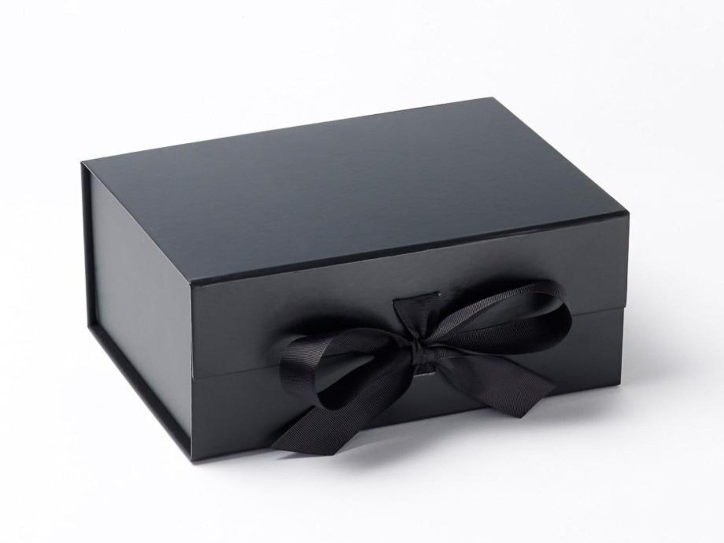 Black A5 Deep gift box with fixed ribbon available from Foldabox