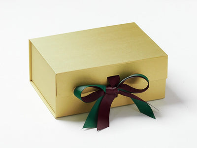 Gold Gift Box Featuring Forest Green and Raisin Ribbon