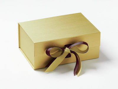 Gold Gift Box with Rose Wine Double Ribbon Bow