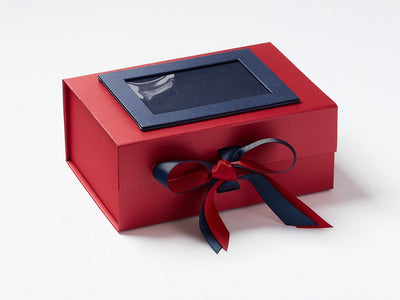 Red A5 Deep Gift Box with Peacoat Double Ribbon Bow and Navy Blue Photo Frame