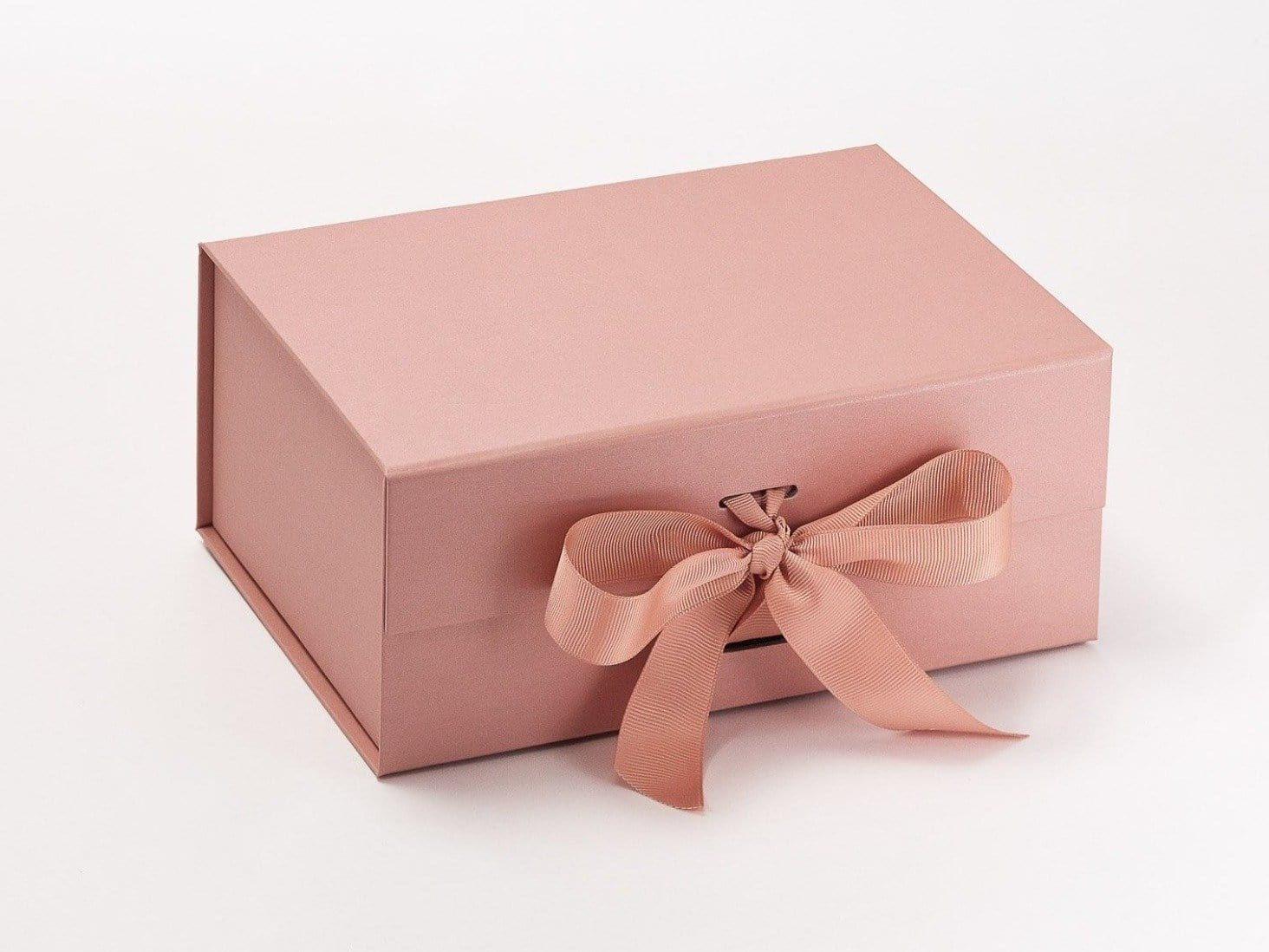 Rose Gold A5 Deep Luxury Folding Gift Box with changeable ribbon