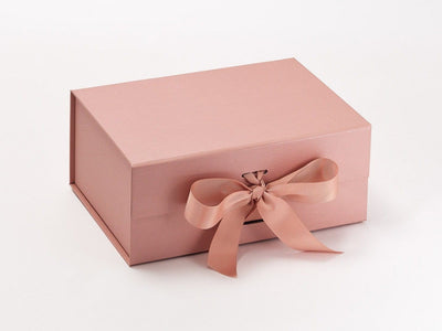 Rose Gold A5 Deep Luxury Gift Box Sample with changeable ribbon