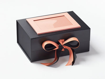 Navy A5 Deep Gift Box with Rose Gold Photo Frame and Rose Gold double Ribbon Bow