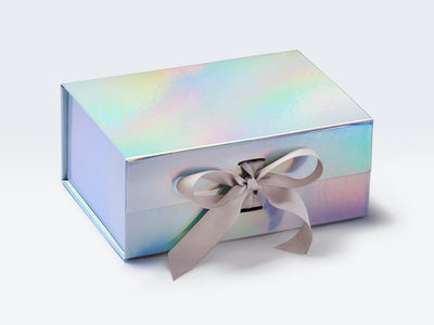 A5 Deep Rainbow Gift Box Sample Supplied with Pale Silver Grey Ribbon