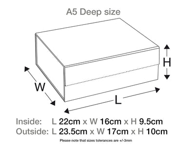 Pale Blue A5 Deep Folding Gift Box Assembled Size Lne Drawing