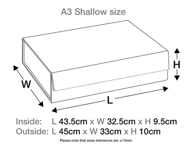 White A3 Shallow Sample Gift Box Assembled Size