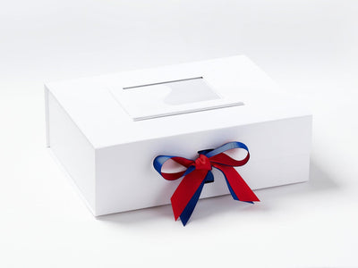 White A4 Deep Gift Box with Cobalt  Blue and Hot Red Ribbon Bow and White Photo Frame