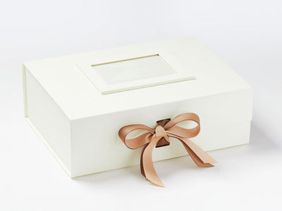 Ivory A4 Deep Gift Box with Tan and Fossil Brown Double Ribbon Bow and Ivory Photo Frame