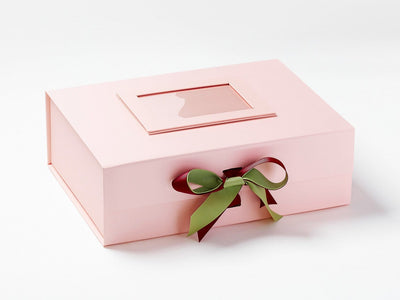 Pale Pink Photo Frame on Pale Pink Gift Box with Sherry and Soft Pine Ribbon