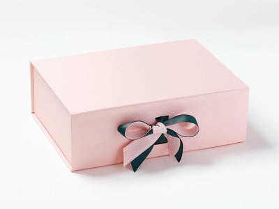 Pale Pink A4 Deep Gift Box with Spruce Green Double Bow