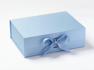 Pale Blue A4 Deep Gift Box Sample with Changeable Ribbon