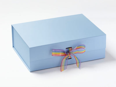 Pale Blue A4 Deep Gift Box with Rainbow Organza Stripe Ribbon