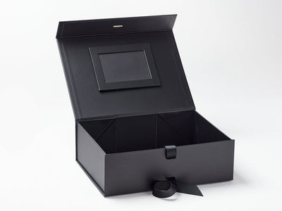 Black A4 Deep Gift Box with Black Photo Frame Affixed to Inside Lid