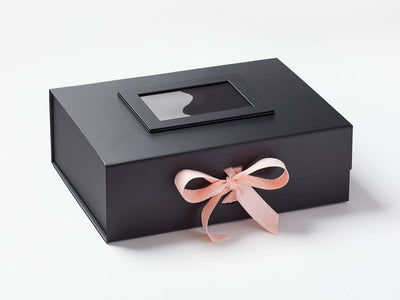 Black Photo Frame on Lid of Black A4 Deep Gift  Box with Pink Saddle Stitched Ribbon
