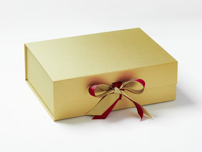 Gold A4 Deeo Gift Box with Beauty Ribbon Double Bow