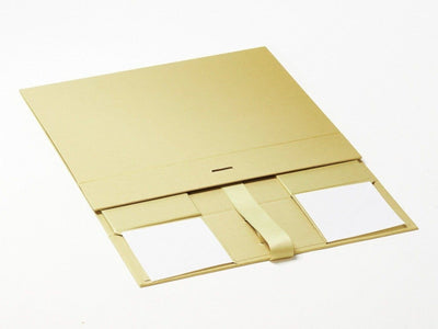 Gold A4 Deep Gift Box Supplied Flat with Ribbon