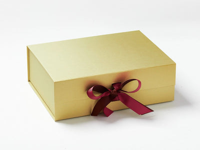 Gold Gift Box with Friar Brown and Rosewood Double Ribbon Bow