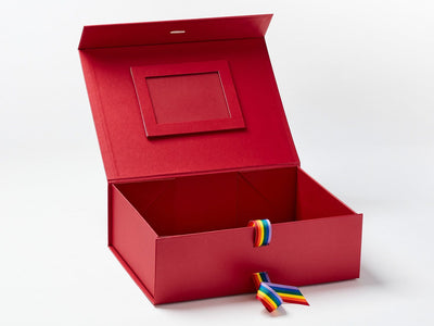 Red A4 Deep Gift Box with Rainbow Stripe Ribbon and Red Photo Frame on Inside Lid