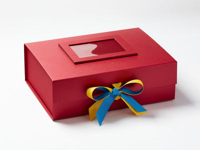 Red A4 Deep Gift Box with Maize and Dress Blue Double Ribbon Bow and Red Photo Frame