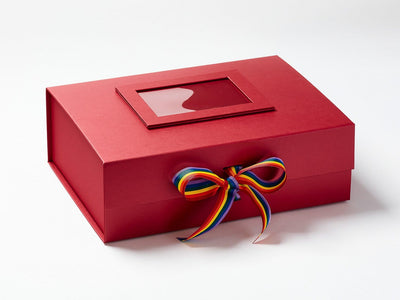 Red A4 Deep Gift Box with Rainbow Ribbon and Red Photo Frame to Lid