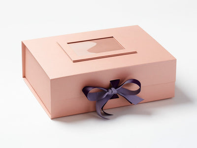 Rose Gold A4 Deep Gift Box with Thistle and Plum Purple Double Ribbon Bow and Rose Gold Photo Frame