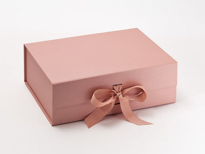 Rose Gold A4 Deep Luxury Gift Box sample with changeable ribbon
