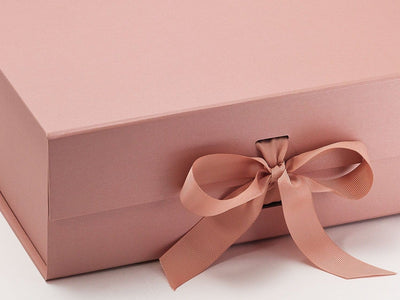 Rose Gold A4 Deep Luxury Gift Box Sample Ribbon Detail