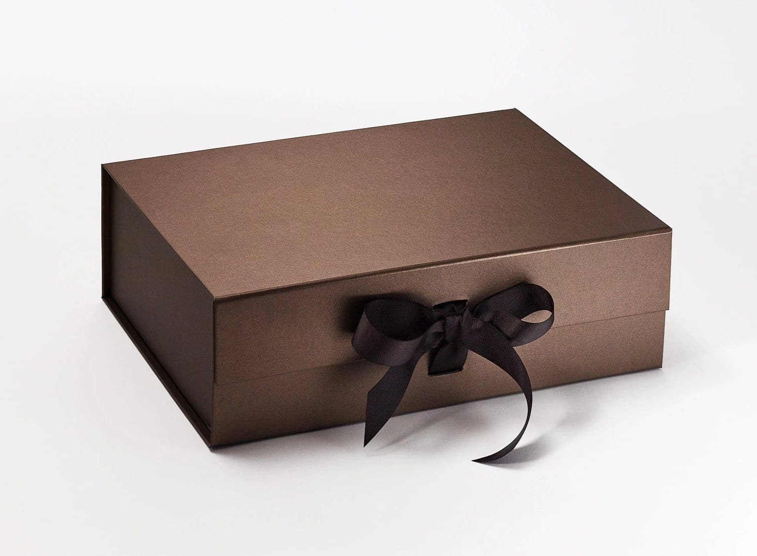 Bronze A4 Deep Luxury Gift Boxes with changeable ribbon