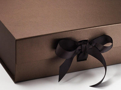 Bronze A4 Deep Luxury Gift Box Ribbon Detail