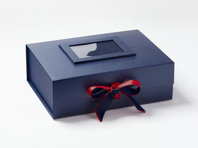 Navy Blue A4 Deep Gift Box with Dark Red Double Ribbon Bow and Navy Photo Frame