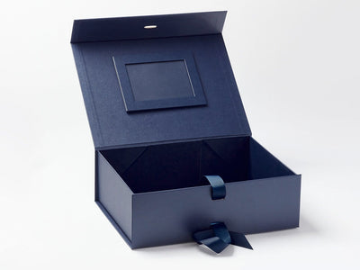 Navy Blue A4 Deep Gift Box with Navy Blue Photo  Frame Affixed to Inside Lid