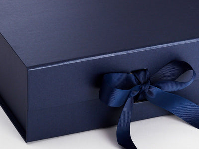 Navy Blue A4 Deep Magnetic Front Closure Ribbon Detail