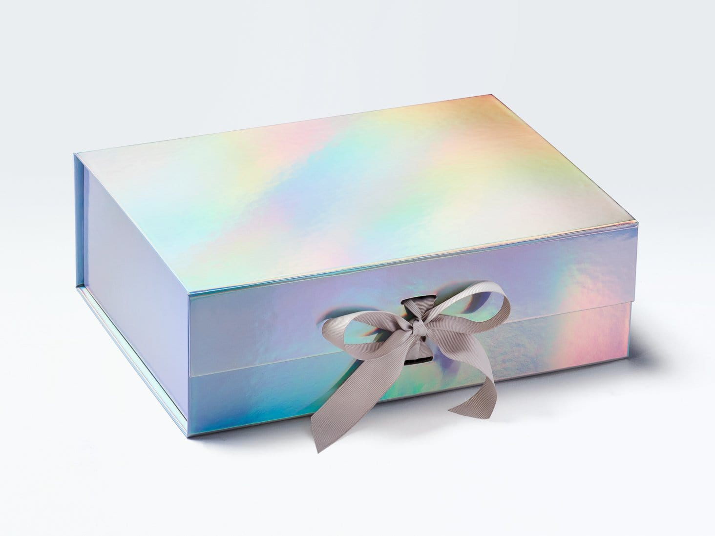 Holographic Rainbow A4 Deep Gift Box Supplied with Pale Grey Ribbon