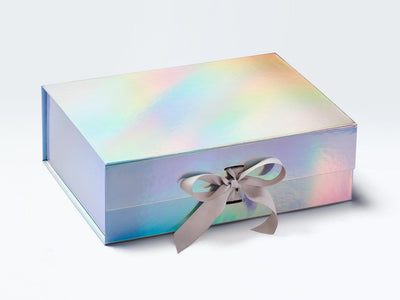 A4 Deep Rainbow Gift Box supplied with Pale Silver Grey Ribbon