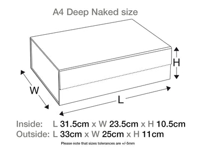Naked Grey A4 Deep Gift Box Sample Assembled Size