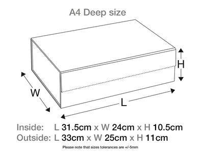 Ivory A4 Deep Gift Box Assembled Size Line Drawing
