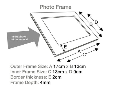 Sample Navy Blue Photo Frame Size Line Drawing