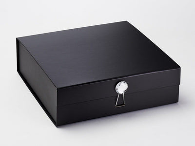 Black Folding Gift Box Featured with Round Diamond Gemstone Closure