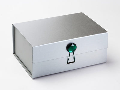 Emerald Gemstone Gift Box Closure on Silver A5 Deep Gift Box