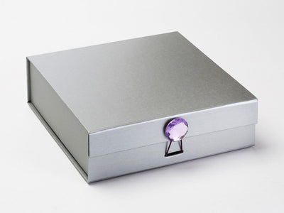 Silver Medium Gift Box Featured with Purple Sapphire Gemstone Closure
