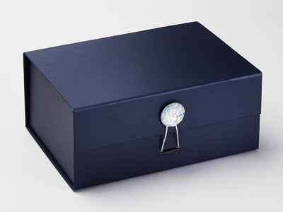 Navy Blue A5 Deep Gift Box with Rainbow Crystal Gemstone Closure