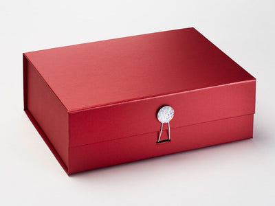 Red A4 Deep Gift Box With Rainbow Crystal Decorative Closure