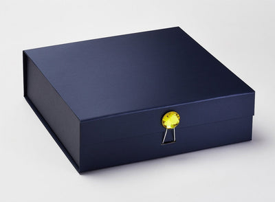 Yellow Diamond Gemstone Gift Box Closure on Navy Large Gift Box