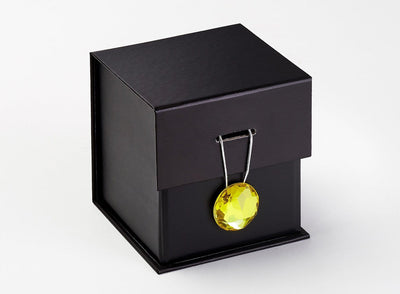 Yellow Diamond Gemstone Gift Box Closure on Black Small Cube