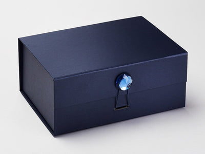 Navy Blue A5 Deep Gift Box with Sapphire Gemstone Closure