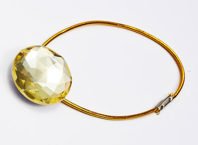 Sample Citrine Gemstone Gift Box Closure with Gold Elastic