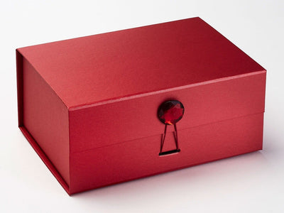 Red A5 Deep Gift Box with Ruby Gemstone Closure